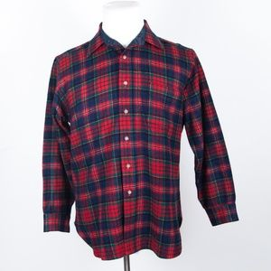 VTG Pendleton Red Tartan Plaid Wool Flannel Shirt